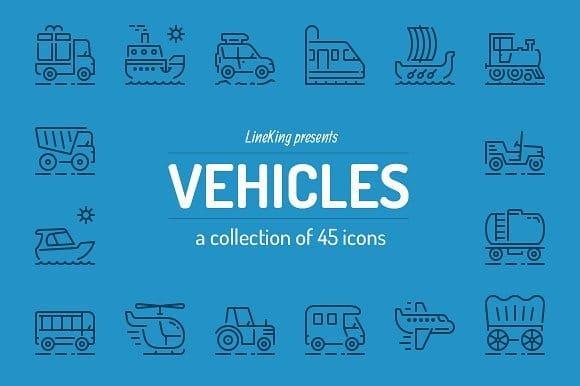 Vehicles Line Icons (Turbo Premium Space)
