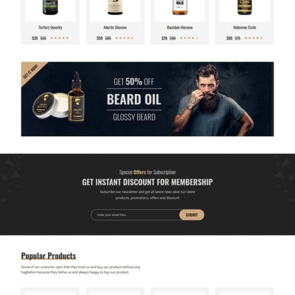 Bardy - Beard Oil eCommerce Bootstrap 4 template