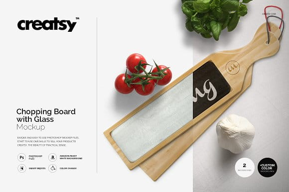Chopping Board with Glass Mockup Set (Turbo Premium Space)