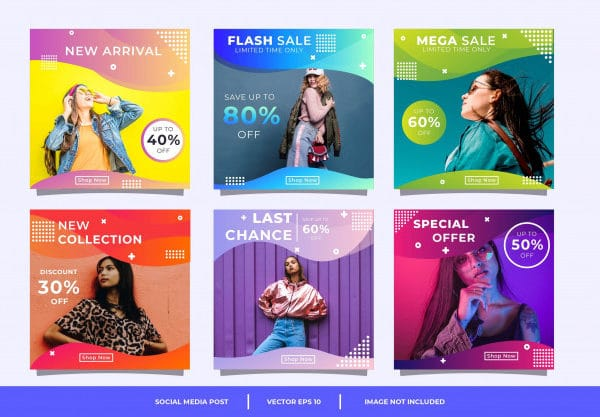 Abstract colorful social media banner template
