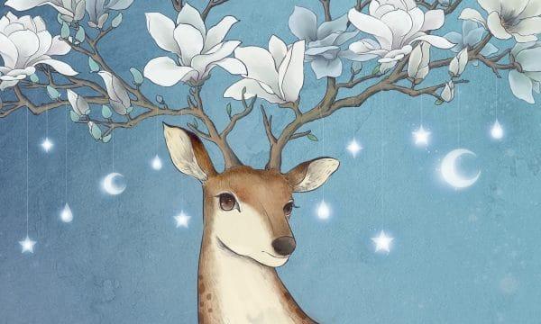 Animal Deer Sika Deer Magnolia Illustration (Turbo Premium Space)