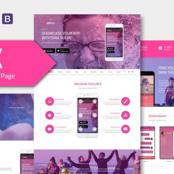 BRIX - Mobile App landing page HTML Template RS