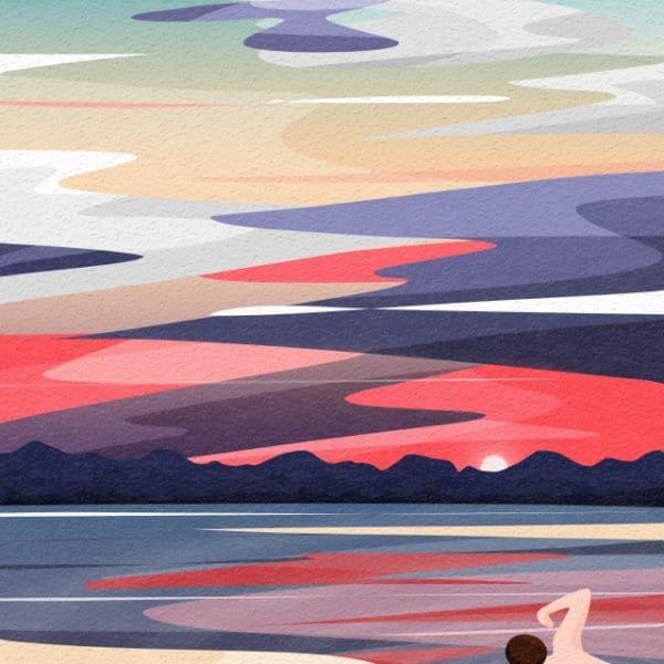 Back View Sky And Landscape Swim Swimmer Paddling Illustration (Turbo Premium Space)