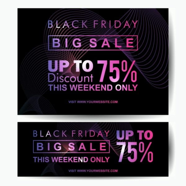Black Friday Big Sale Banner Template Neon Glow Style Vector Eps 10 (Turbo Premium Space)