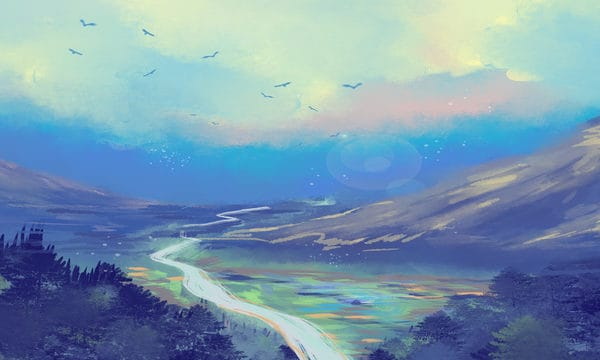 Blue Sky White Clouds Forest Mountain Peak Illustration