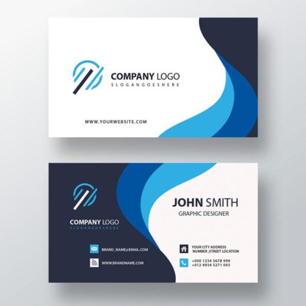 Blue Wavy Business Card (Turbo Premium Space)
