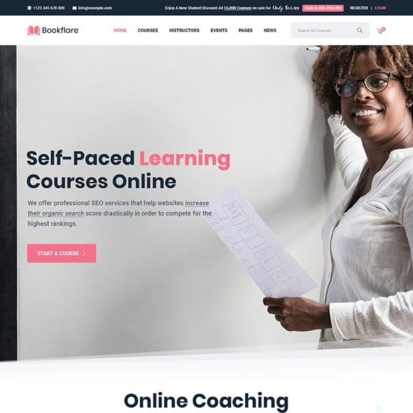 Bookflare - A Modern Education & LMS WordPress The