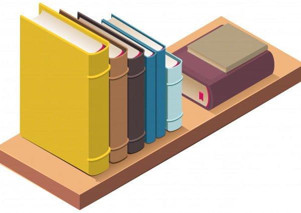 Bookshelf and several hardcover books