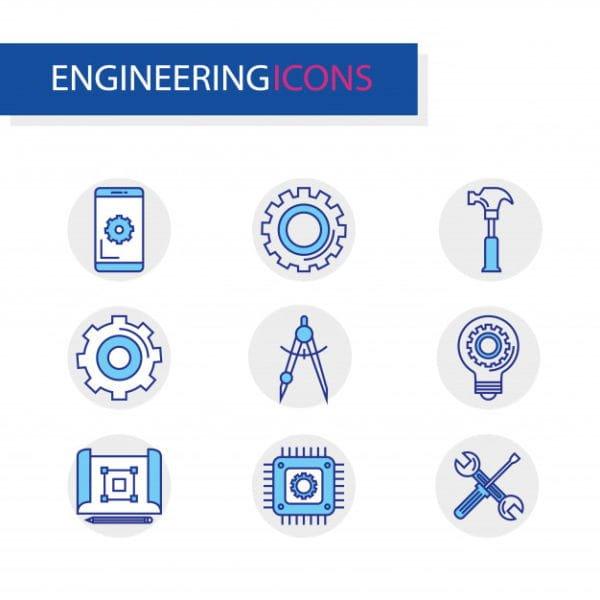 Bundle of engineering set icon