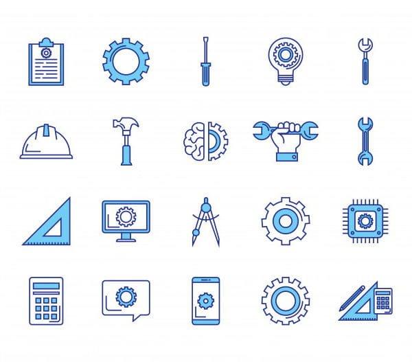 Bundle of engineering set icon (Turbo Premium Space)