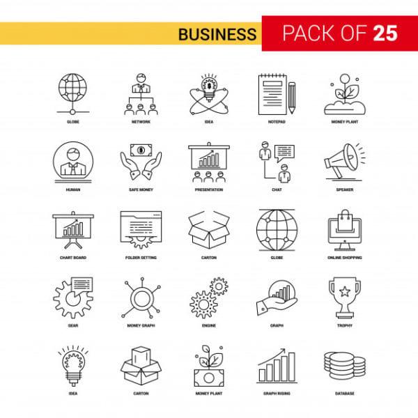 Business black line icon