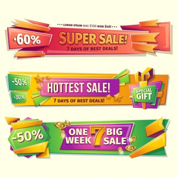 Cartoon Sale Banners Badges Stickers Tags