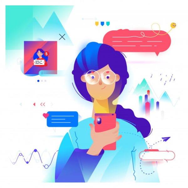 Cartoon girl communicates (Turbo Premium Space)