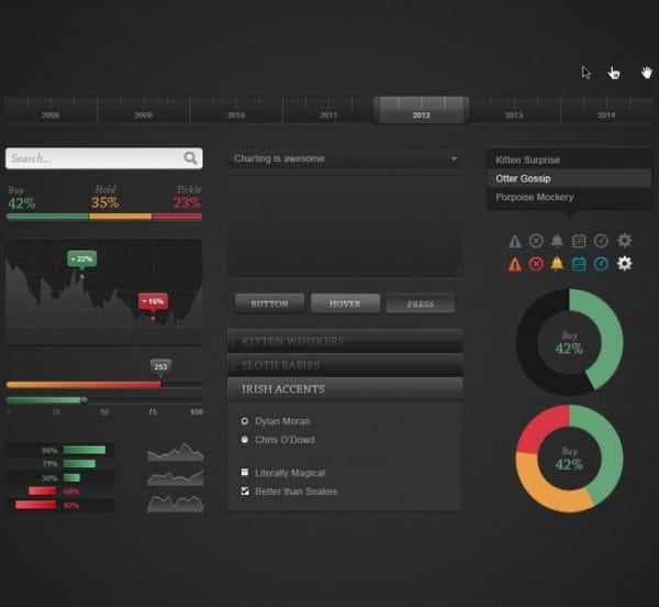 Chart dark ui kit psd (Turbo Premium Space)
