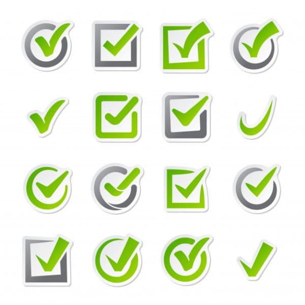 Check box icons vector set