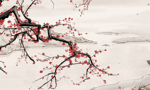 Chinese Style Ink Landscape Riverside Plum Blossom Illustration Psd Illustration (Turbo Premium Space)