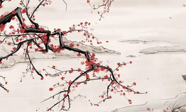 Chinese Style Ink Landscape Riverside Plum Blossom Illustration Psd Illustration