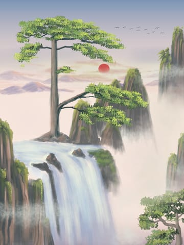 Chinese Style Landscape Painting Huangshan Yingke Songmeimei Cure Tourism Illustration (Turbo Premium Space)