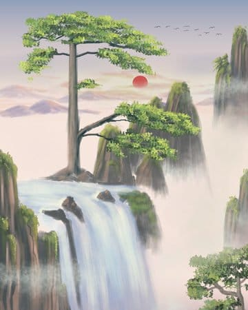 Chinese Style Landscape Painting Huangshan Yingke Songmeimei Cure Tourism Illustration
