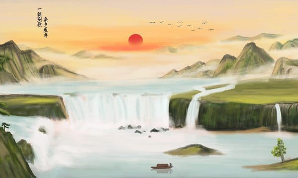 Chinese Style Mountain Ink Painting Natural Scenery Waterfall River Illustration