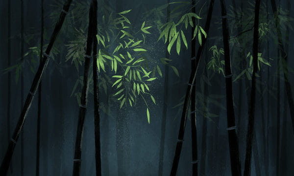 Chinese Style Original Bamboo Green Illustration Background With Map Illustration (Turbo Premium Space)