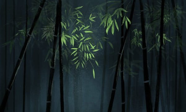 Chinese Style Original Bamboo Green Illustration Background With Map Illustration
