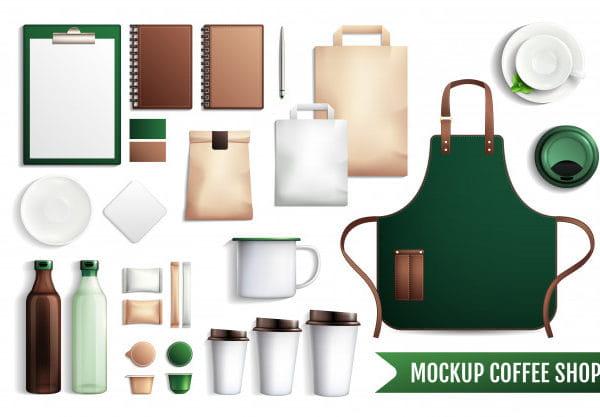 Coffee shop elements mockup (Turbo Premium Space)