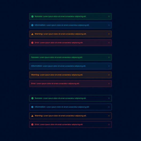 Dark alert web ui element (Turbo Premium Space)