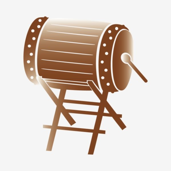 Drawing Illustration Of Drum With White Background