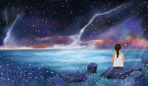 Dream Romantic Starry Sky Moonlight Illustration