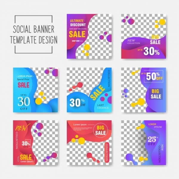 Editable Post Template Social Media Banners For Digital Marketing Promo Brand Fashion Stories Streaming Vector Illustration Vector (Turbo Premium Space)
