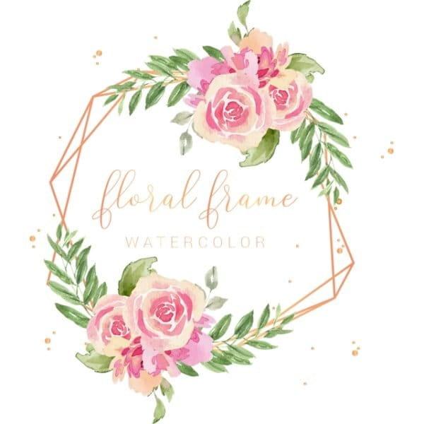 Elegant Gold Frame Watercolor Pink Flowers Illustration