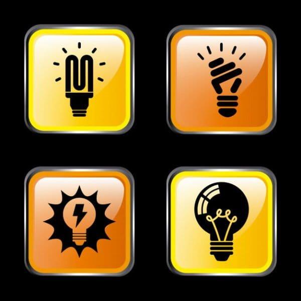 Energy icons over dark