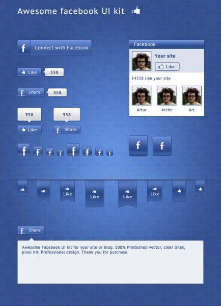 Facebook social media ui kit (Turbo Premium Space)