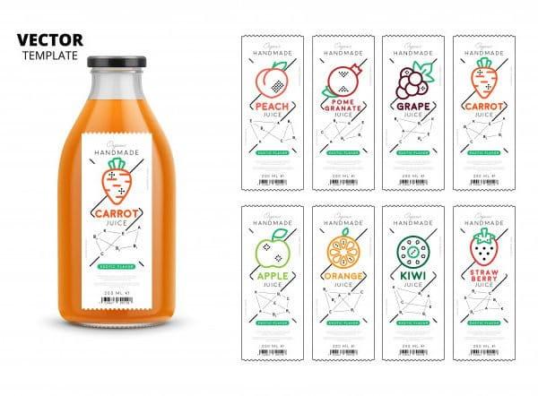 Fresh juice packaging mockup set