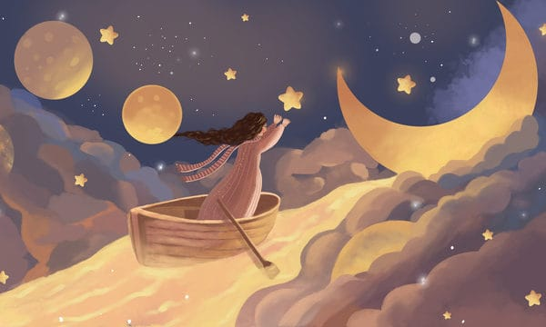 Girl Touching Moon Starry Cure Yellow Illustration Illustration (Turbo Premium Space)