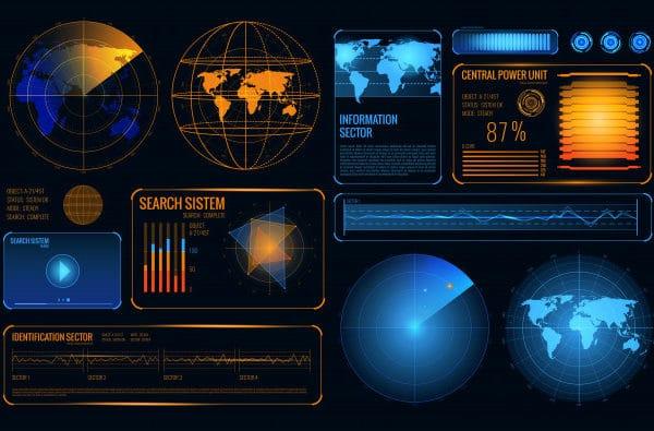 Glowing search radar set