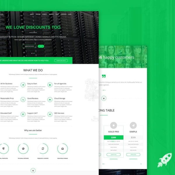Green Flip - One Page Theme Bootstrap 3