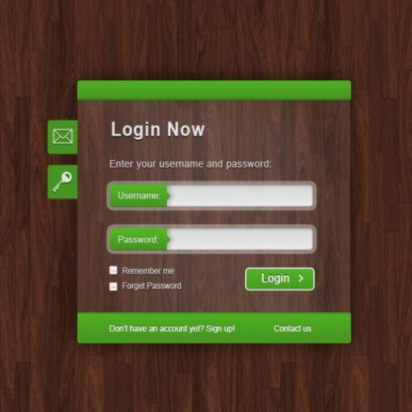 Green login form on wood text