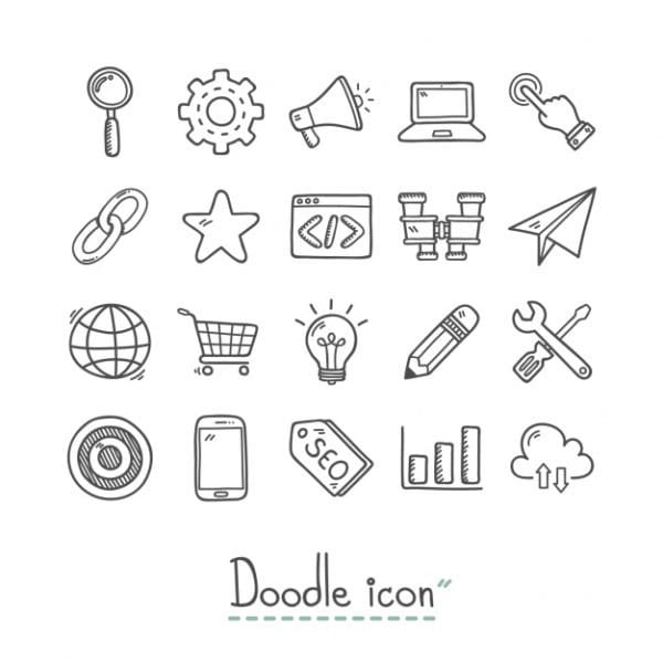 Hand drawn business icons (Turbo Premium Space)