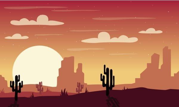 Illustration Desert Landscape Desert Desert Night Illustration (Turbo Premium Space)