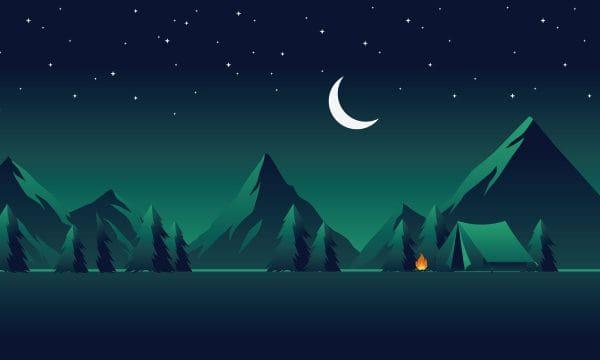 Illustration Field Night Landscape Illustration