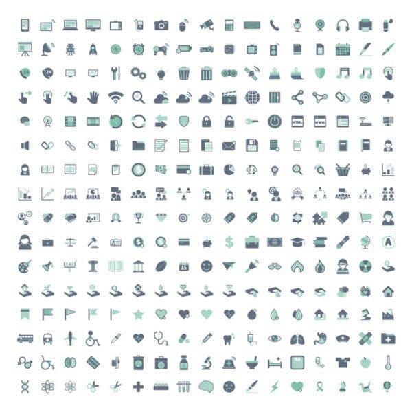 Illustration set of mixed icons