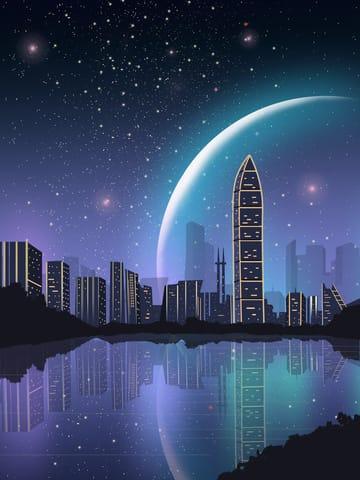 Impression Shenzhen City Night View Beautiful Starry Landmark Silhouette Illustration (Turbo Premium Space)