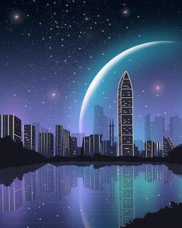 Impression Shenzhen City Night View Beautiful Starry Landmark Silhouette Illustration