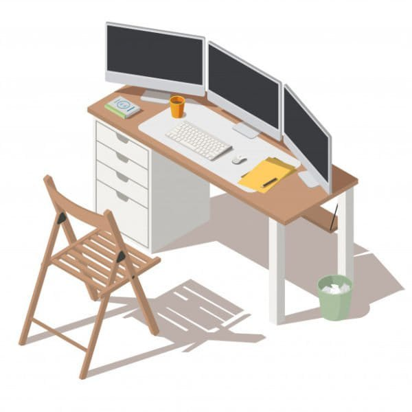 It specialist workplace with monitor