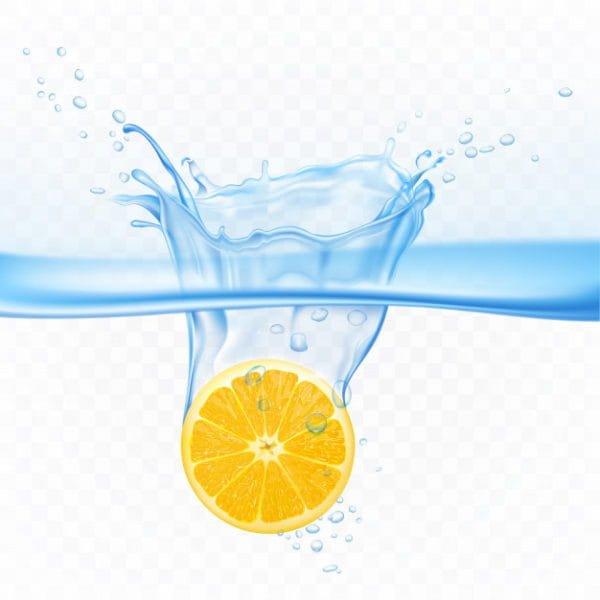 Lemon in water splash explosion
