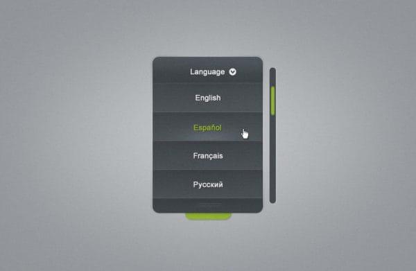 Menu list with language selector (Turbo Premium Space)