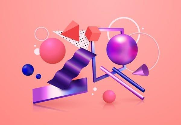 Metallic shapes in 3d effect