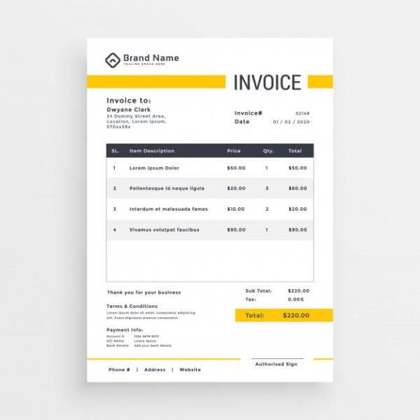 Minimal yellow invoice